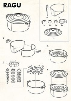 Ikea style Ragu instructional-graphics-instruction-user-manual-retro-i. Illustration Plate, Graphic Illustration, Technical Illustrations, Technical Drawings, Design Illustrations, Vintage Illustrations, Design Bauhaus, Diagram Design, Instructional Design