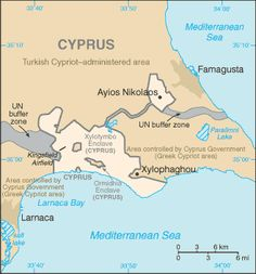 Map of Dhekelia, one of the two UK sovereign bases on the island of Cyprus. Dhekelia is in two parts, has enclaves from the republic of Cyprus, and is included in the separation line between North and South of Cyprus.