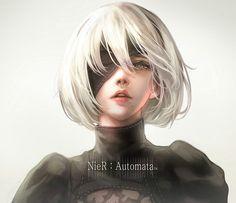 E] Speed Painting - NieR:Automata (Photoshop) Nier Characters, Female Characters, Manga Girl, Anime Art Girl, Japonese Girl, Drakengard Nier, Sarada Uchiha, Estilo Anime, Anime Sexy