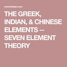 THE GREEK, INDIAN, & CHINESE ELEMENTS -- SEVEN ELEMENT THEORY