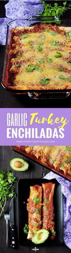 Looking for a street-smart way to use up leftover turkey or an exciting dish to spice up a weeknight? These healthy turkey enchiladas fit the bill just fine Quick Dinner Recipes, Supper Recipes, Beef Recipes, Whole Food Recipes, Garlic Recipes, Sweets Recipes, Mexican Recipes, Copycat Recipes, Healthy Gluten Free Recipes