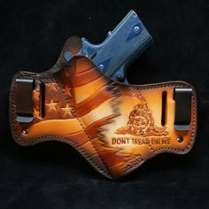 This stylish custom artwork Savoy Leather holster is handcrafted from fine American heavy leather, Hand molded to the specific gun model and dyed in custom color. Gun Holster, Leather Holster, Holsters, Tandy Leather, Leather Men, Pancake Holster, Leather Carving, Leather Craft, Hand Guns