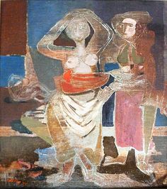 Bathers, 1941 by Jankel Adler (Polish 1895-1949).....Adler came to Scotland in 1941 and had a significant influence on a number of British artist's, including the two Roberts, Colquhoun and Macbryde....he later moved to London where he died in 1949.
