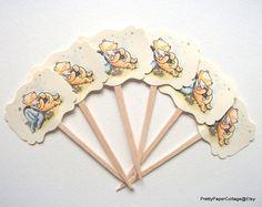 Winnie the Pooh Piglet & Eyore Cupcake by PrettyPaperCottage