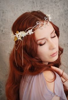 Ethereal flower tiara ivory floral headdress by gardensofwhimsy, $79.00