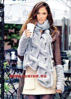 Эффектный шарф с волнистым узором. Спицы
