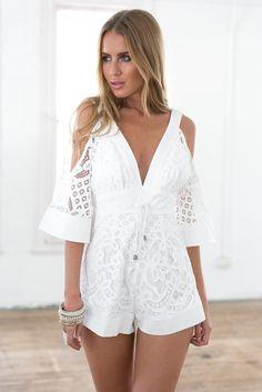 White Lace Cutout Shoulder Deep V Playsuit Spring Dresses Casual, Trendy Dresses, Indie Fashion, Fashion Wear, Fasion, Boho Romper, Boho Shorts, White Lace Romper, Lace Dress