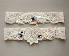 Ivory Venice Lace Bridal Garter SET with Blue Pearls - Something Blue Wedding Garter (also available in white) with Toss Garter