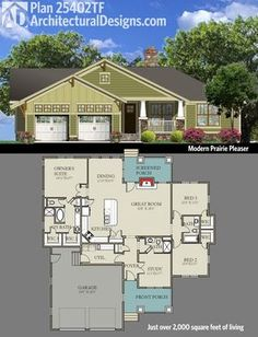 Get a dose of Prairie style with Architectural Designs Bungalow House Plan 25402TF. 3 beds and just over 2,000 square feet of living on one floor. Ready when you are. Where do YOU want to build?