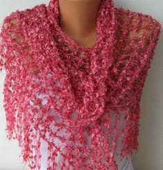 Crochet Scarf Product | Hot Pink Shawl - Scarf - Crochet Scarf Shawl Women - Handmade Work ...