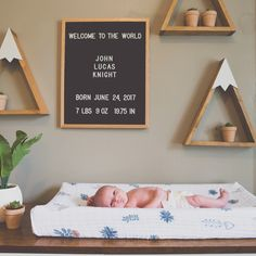 Mountain shelves and sign baby birth announcement Baby Bedroom, Baby Boy Rooms, Baby Boy Nurseries, Nursery Room, Girl Nursery, Bear Nursery, Woodland Nursery, Nursery Themes, Nursery Decor