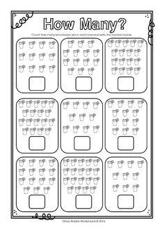 How Many - 10 - 20 Count the objects and write how many below! Great set of print and go worksheets for Kindergarten / Grade One first learning numbers!