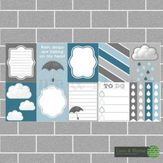 PLANNER SQUARE STICKERS - WINTER RAIN PACK    INCLUDES: 9 squares and 4 checklists