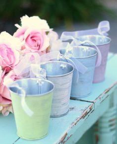 Shabby Chic Flower Girl Basket Pail Custom Wedding by braggingbags  pastel weddings, flowers, green, purple, blue