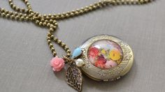 Brass Locket Necklace Floral Bouquet Photo Locket by leprintemps, $26.00