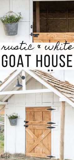Check out this amazing simple and stylish white and rustic goat house! Looking for goat shed ideas? Check out this great little lovely goat barn! Raising Farm Animals, Raising Goats, Backyard Sheds, Chickens Backyard, Goat Shed, Goat House, Goat Barn, Goat Shelter, Farm Plans