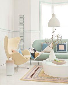 Pastel Living Room – Light Green Sofa, Yellow Chair