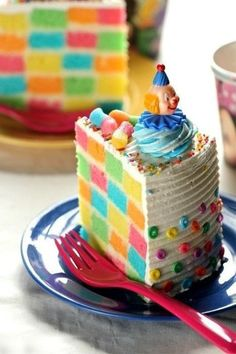 Introducing the Rainbow Brick Cake, the most labor intensive cake in all history!