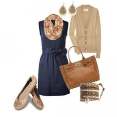 Work Outfit ▪ Ballet Flats with Navy Dress
