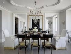 Awesome Home Interior with Ceiling Design Ideas : Classic Dining Room Design With Glass Dining Table And Fabric Covered Dining Chairs With C. Gold Dining Room, House Design, Room Design, Traditional Dining Room, Gold Dining, Luxury Dining Room, Home Decor, Luxury Dining, House Interior