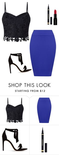 """""""🙊💙🎈"""" by tan-zuis ❤ liked on Polyvore featuring Lipsy, WearAll, Alexandre Birman, Yves Saint Laurent and Smashbox"""
