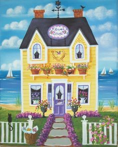 (✿´ ꒳ ` )ノ                                                                  Flower Shop Folk Art Print by KimsCottageArt on Etsy