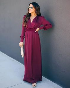 V Long Sleeve Swing Dress - Wine Red – Source by shopforselection maxi dressDeep V Long Sleeve Swing Dress - Wine Red – Source by shopforselection maxi dress Maxi Tshirt Dress, Ankara Maxi Dress, Racerback Maxi Dress, Backless Maxi Dresses, Chiffon Maxi Dress, Floral Maxi Dress, Maxi Dress Tutorials, Colorful Fashion