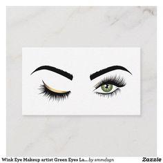 Wink Eye Makeup artist Green Eyes Lash Extension Business Card #EyelinerTricks