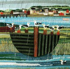 'Gulls' By Textile Artist Rachel Sumner. Blank Art Cards By Green Pebble. www.greenpebble.co.uk
