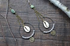 Cowrie shell earrings Hoop Turquoise stone by VirgoInspiration