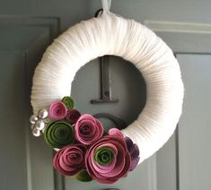 Items similar to Felt Flower Wreath / Floral Wreath / Yarn / Farmhouse / Modern / Handmade / Decoration : Violet Garden on Etsy Felt Flower Wreaths, Felt Wreath, Wreath Crafts, Diy Wreath, Felt Flowers, Door Wreaths, Felt Crafts, Diy Crafts, Yarn Wreaths