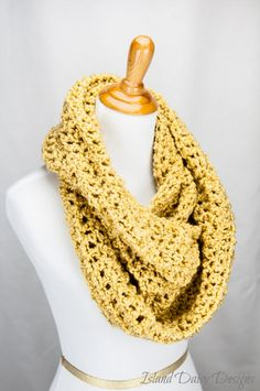 Infinity Scarf - THE BLUE RIDGE - Super soft, warm and cozy - Stylish and full of texture - Golden. $31,00, via Etsy.
