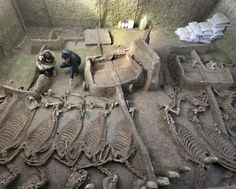2,600-year-old tombs discovered in Henan.  A group of tombs dating back to the Spring and Autumn period (771-476 BC) has been discovered in central China's Henan Province, archaeologists said on Sunday. The tomb of a Luhun nobleman and his family also contained the skeletons  of 13 horses and six chariots [Credit: Xinhua]