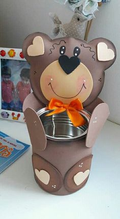 Oso lata Tin Can Crafts, Foam Crafts, Cute Crafts, Preschool Crafts, Diy And Crafts, Crafts For Kids, Arts And Crafts, Paper Crafts, Jungle Theme Birthday