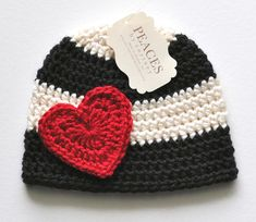 Baby Hats  Red Heart Black & White Baby Beanie by peacesbycortney, $28.00