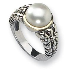Sterling Silver Pearl Engagement Ring - Classy mixed with sophistication & you have this magnificent Sterling Silver Pearl Engagement Ring stamped in 925 Sterling Silver with a beautiful 14k Yellow Gold mount featuring a Round White lightly blemished/medium luster Pearl set atop of the ring. This fascinating Freshwater style Sterling Silver ring is .01 inches in width & the stone creation method is 100% natural & not heat-treated. #unusualengagementrings