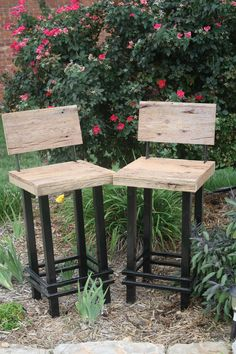"""YOUR Custom Made 24""""-27"""" Rustic and Reclaimed Barn Wood and Metal Bar Stool With Backs. $140.00, via Etsy."""