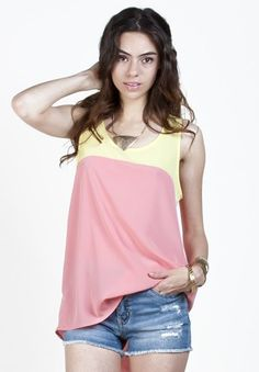 Pink and Yellow Color Block Tank by Sway Chic - Do you prefer pink or yellow lemonade? No need to choose with this summery tank.  Super great color combo going on here. Pair it with some light wash denim cut offs and chunky shoes or flip flops for a trend setting look.