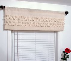 Burlap Ruffled  Valance Rustic Curtain by supplierofdreams