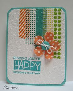 pretty card - good way to use up paper scraps or washi tape in vertical graduated strips, raised button-center flower on foam dots; stamped greeting