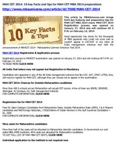 This article by MBAUniverse.com brings forth key features and preparatory tips for MAH CET MBA 2014 exam. MAH CET 2014 Registration process was opened on January 27, 2014 and will continue till 5 P.M. on February 14, 2014