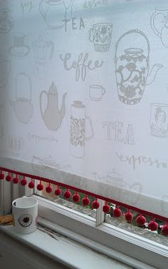 Tea and coffee blind fabric - perfect for the kitchen - charlotte lucie farmer illustration Fabric Blinds, Coffee Shop, Farmer, Cake Decorating, Kitchens, Charlotte, Cakes, Tea, Illustration