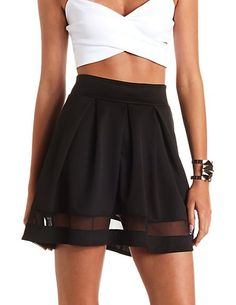 Mesh Cut-Out Pleated Skater Skirt: Charlotte Russe