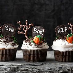 Graveyard Cupcakes From Better Homes and Gardens, ideas and improvement projects for your home and garden plus recipes and entertaining ideas.