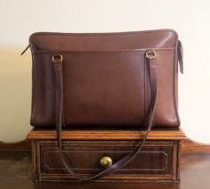 Coach Shoulder Brief In Brown (Mahogany?) Leather With Brass Hardware Style No 5230- Made In United States - VGC by ProVintageGear on Etsy
