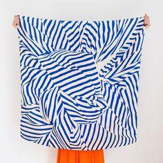 """Stripe"" furoshiki textile in navy and beige"