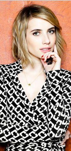 Who made Emma Roberts' black and white chain wrap dress? Dress – Diane von Furstenberg