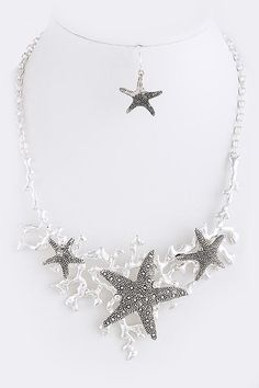 da6c52ac1a7702 Starfish Coral Bib Necklace gives you a complete summer update. Beautiful  piece brings the ocean