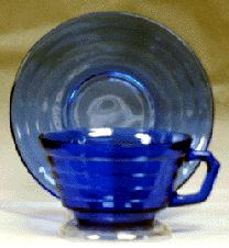 MODERNTONE in cobalt   Moderntone, as you can see, is a very simple pattern.  The color is a deep rich blue.  It was made by Hazel Atlas Glass from 1934 to 1942.   It was also made in amethyst, some crystal and pink and in fired-on colors called Platonite.