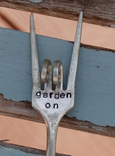 FLOWER POT/CONTAINER STAKE * MARKER Garden On * Rock n Roll Sign twisted Silver Plate Fork * Hand Stamped * Perfect for container gardening. Not recommended for garden. To view our entire collection, follow this link: http://www.VintageGardenArt.etsy.com Funny Garden Markers